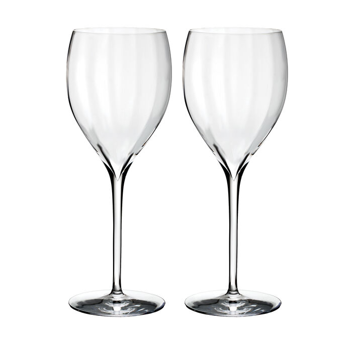 "Waterford Crystal ""Elegance Optic"" Set of Two Crisp White Wine Glasses"