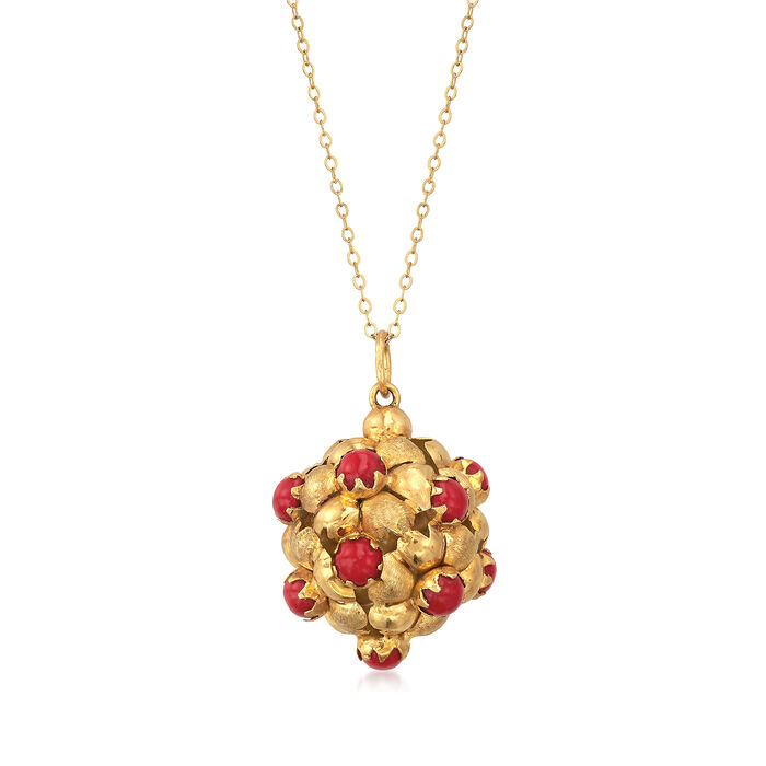 """C. 1980 Vintage Red Coral Cluster Necklace in 18kt Yellow Gold. 18"""""""