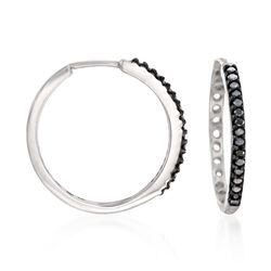".25 ct. t.w. Black Diamond Hoop Earrings in Sterling Silver. 3/4"", , default"