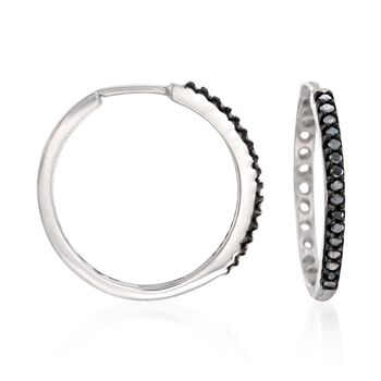 ".25 ct. t.w. Black Diamond Hoop Earrings in Sterling Silver. 3/4"", , default"