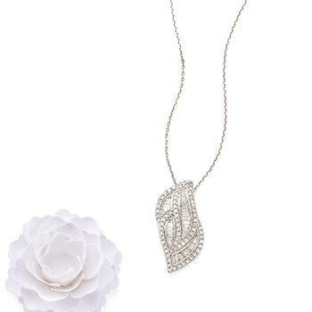 """1.00 ct. t.w. Round and Baguette Diamond Pendant Necklace in Sterling Silver. 18"""""""