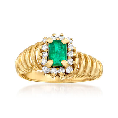 C. 1980 Vintage .45 Carat Emerald and .25 ct. t.w. Diamond Ring in 14kt Yellow Gold, , default