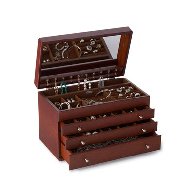 "Mele & Co. ""Brigitte"" Antique Walnut Finish Jewelry Box, , default"