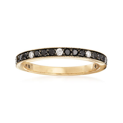 .47 ct. t.w. Black and White Diamond Band in 14kt Yellow Gold