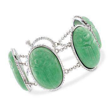 """Green Jade Large Scarab Station Toggle Bracelet in Sterling Silver. 7"""", , default"""