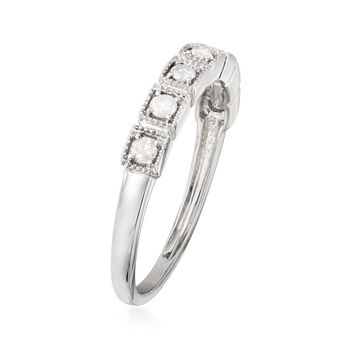 .25 ct. t.w. Diamond and Beaded Frame Ring in 14kt White Gold
