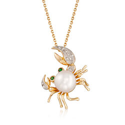 8-8.5mm Cultured Pearl Crab Pendant Necklace With Tsavorite and Diamond Accents in 14kt Yellow Gold, , default
