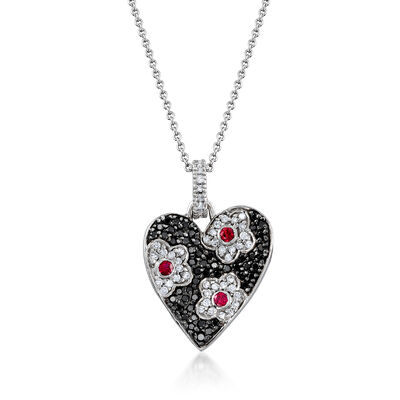 C. 2000 Vintage .85 ct. t.w. Black and White Diamond and .25 ct. t.w. Ruby Heart Pendant Necklace in 18kt White Gold