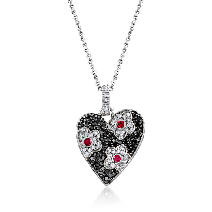 C. 2000 Vintage .85 ct. t.w. Black and White Diamond and .25 ct. t.w. Ruby Heart Pendant Necklace in 18kt White Gold. 16""