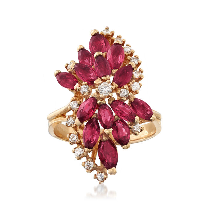 C. 1980 Vintage 2.60 ct. t.w. Ruby and .30 ct. t.w. Diamond Cluster Ring in 14kt Yellow Gold. Size 5.75, , default