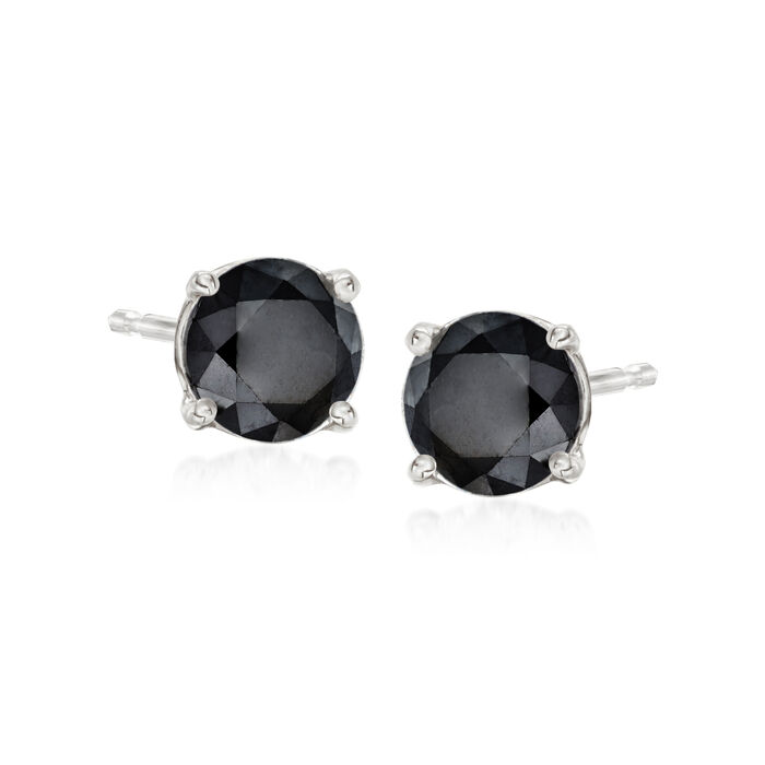 3.00 ct. t.w. Black Diamond Stud Earrings in 14kt White Gold