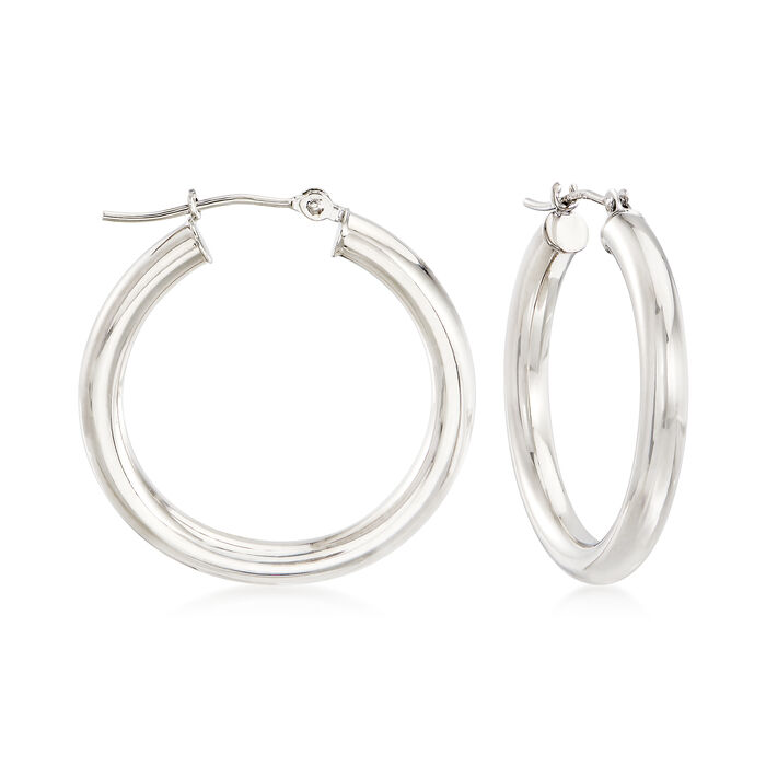 "14kt White Gold Hoop Earrings. 1""., , default"