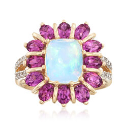 Opal and 2.60 ct. t.w. Rhodolite Garnet Ring With Diamond Accents in 14kt Yellow Gold, , default