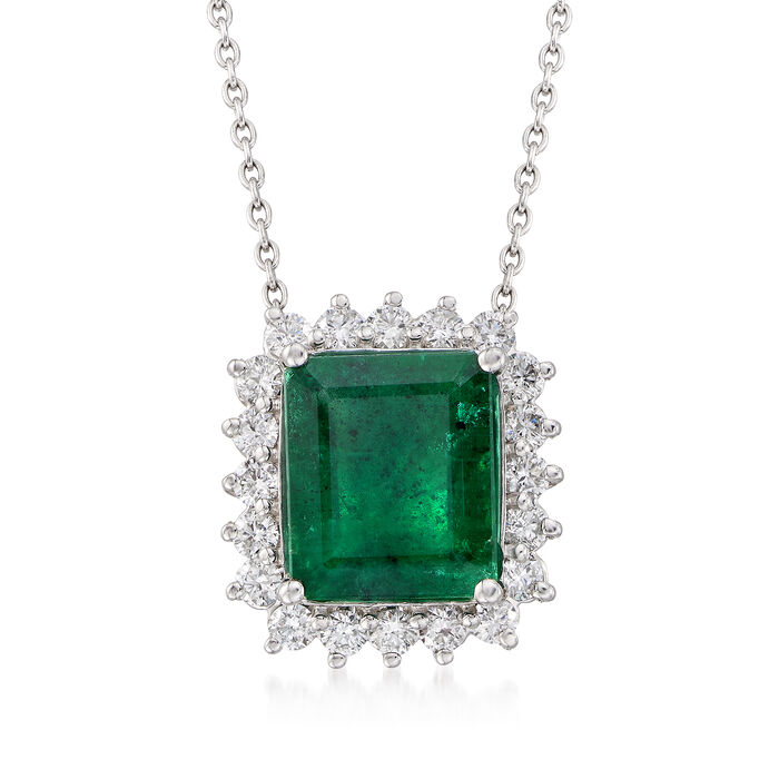 """8.00 Carat Emerald and  1.30 ct. t.w. Diamond Necklace in 14kt White Gold. 16"""", , default"""