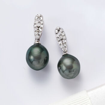 Cultured Tahitian Pearl and .20 ct. t.w. White Topaz Drop Earrings in Sterling Silver