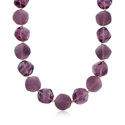 Italian Purple Murano Glass Bead Necklace in 18kt Yellow Gold Over Sterling Silver, , default