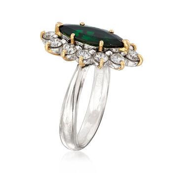 C. 1990 Vintage 13x5.5. Marquis Tourmaline Ring with 1.01 ct. t.w. Diamonds in Platinum. Size 6.5, , default