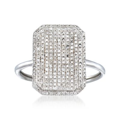 .33 ct. t.w. Pave Diamond Rectangle Ring in 14kt White Gold, , default