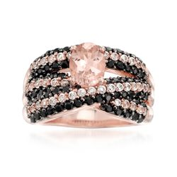 1.10 Carat Morganite and 1.20 ct. t.w. Black Spinel Ring With White Zircons in 14kt Rose Gold Over Sterling, , default