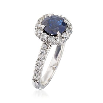 C. 2000 Vintage 1.50 Carat Sapphire and 1.00 ct. t.w. Diamond Ring in 14kt White Gold. Size 6.5, , default