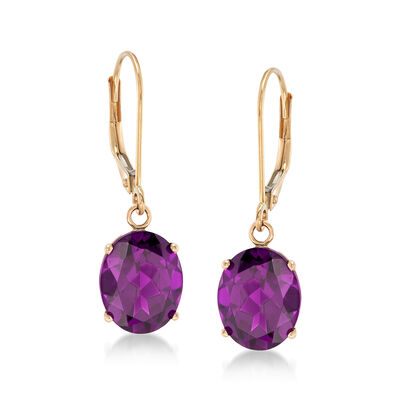 4.80 ct. t.w. Amethyst Drop Earrings in 14kt Yellow Gold, , default