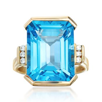 14.00 Carat Blue Topaz Ring With Diamond Accents in 14kt Yellow Gold, , default
