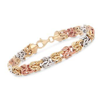"""14kt Tri-Colored Gold Byzantine Bracelet. 7"""", , default"""