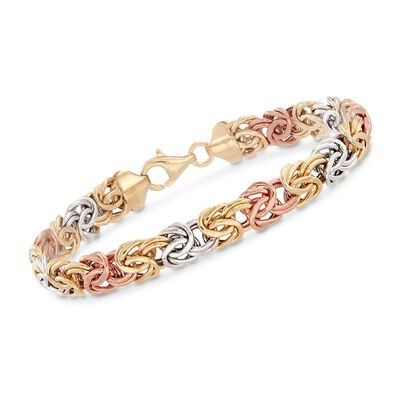 14kt Tri-Colored Gold Byzantine Bracelet, , default