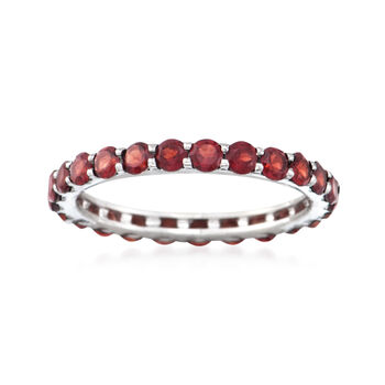 1.60 ct. t.w. Garnet Eternity Band in 14kt White Gold, , default