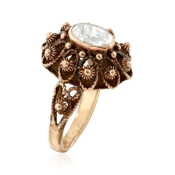 C. 1960 Vintage 1.25 Carat CZ Beaded Ring in 14kt Yellow Gold. Size 6