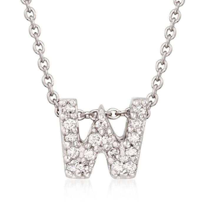 """Roberto Coin """"Love Letter"""" Diamond Accent Initial """"W"""" Necklace in 18kt White Gold"""