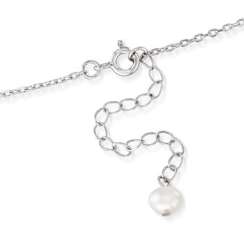 9.5-10mm Cultured Pearl Wave Pendant Necklace in Sterling Silver. 18""