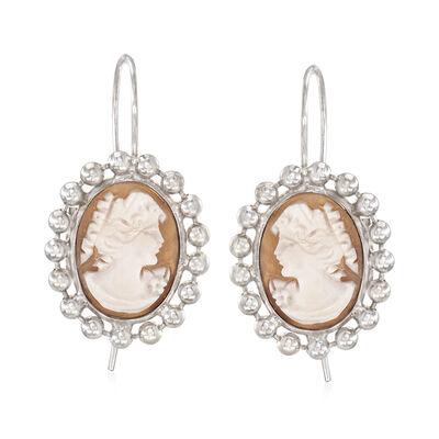 Italian Oval Shell Cameo Drop Earrings in Sterling Silver, , default