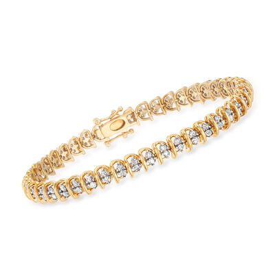 2.00 ct. t.w. Diamond Swirl-Link Tennis Bracelet in 18kt Gold Over Sterling, , default
