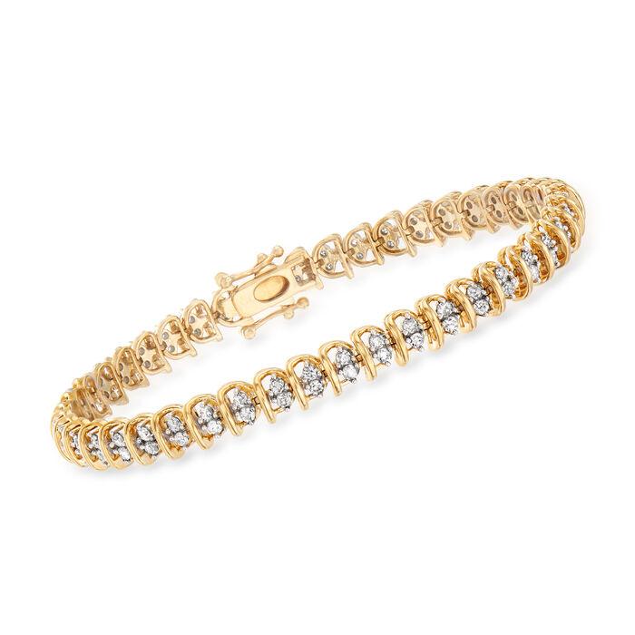 2.00 ct. t.w. Diamond Swirl-Link Tennis Bracelet in 18kt Gold Over Sterling