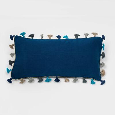 Joanna Buchanan Indigo Linen Tassel Mini Lumbar Pillow, , default