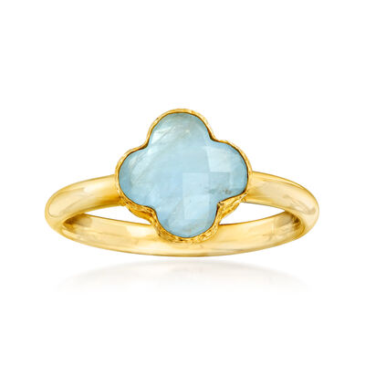Italian 1.40 Carat Aquamarine Ring in 14kt Yellow Gold, , default