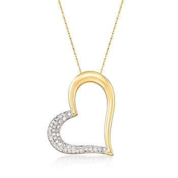 .50 ct. t.w. Diamond Heart Pendant Necklace in 14kt Yellow Gold, , default