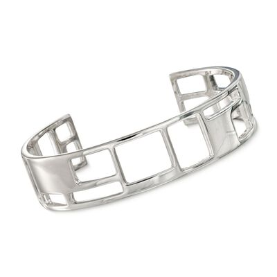 "Zina Sterling Silver ""Windows"" Thin Cuff Bracelet, , default"