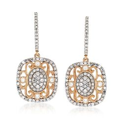1.02 ct. t.w. Diamond Vintage-Style Drop Earrings in 14kt Yellow Gold , , default
