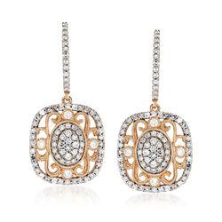 1.02 ct. t.w. Diamond Vintage-Style Drop Earrings in 14kt Yellow Gold, , default