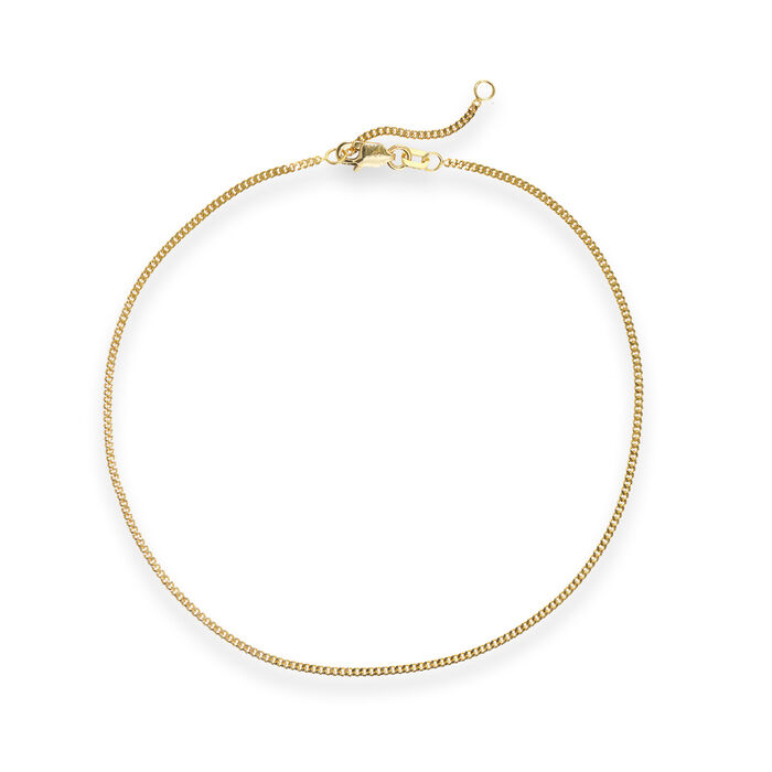 14kt Yellow Gold Curb Chain Anklet, , default