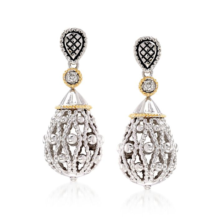 "Andrea Candela ""La Corona"" Sterling Silver and 18kt Yellow Gold Teardrop Earrings with Diamond Accents"