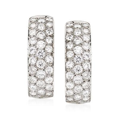 C. 1980 Vintage 2.00 ct. t.w. Diamond J-Hoop Earrings, , default