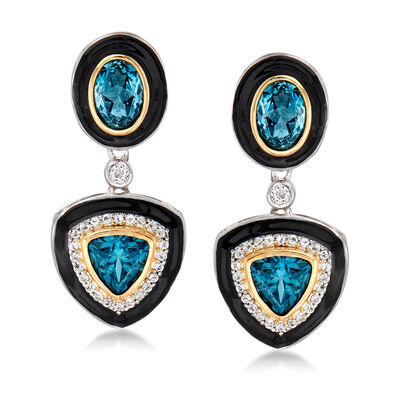 4.00 ct. t.w. London Blue and .30 ct. t.w. White Topaz Earrings with Black Enamel in Sterling Silver and 14kt Yellow Gold
