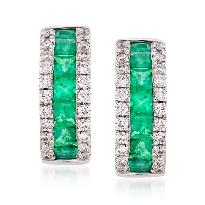 .65 ct. t.w. Emerald and .30 ct. t.w. Diamond Hoop Earrings in 14kt White Gold  , , default