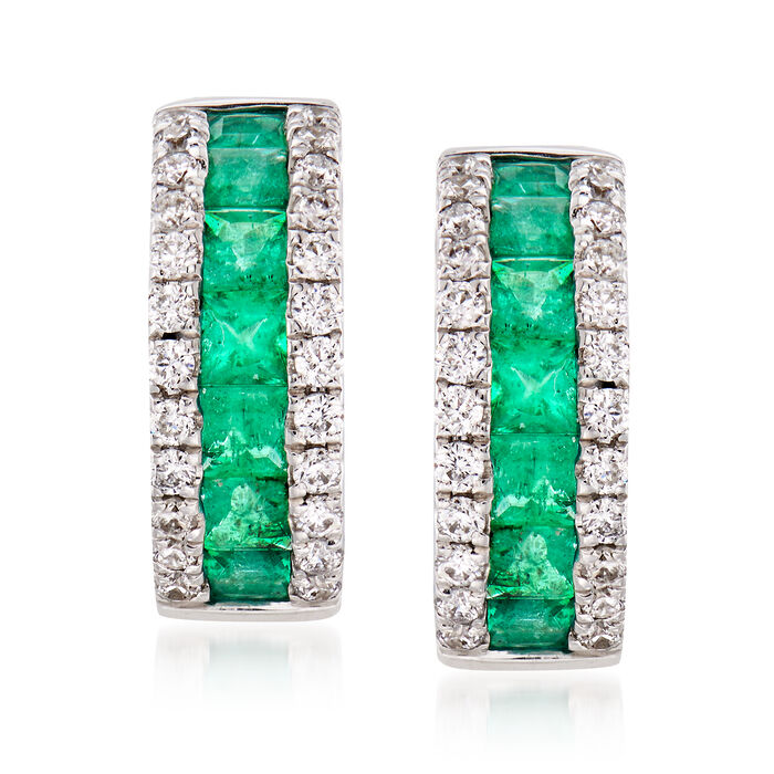 """.65 ct. t.w. Emerald and .30 ct. t.w. Diamond Hoop Earrings in 14kt White Gold. 3/8"""" , , default"""