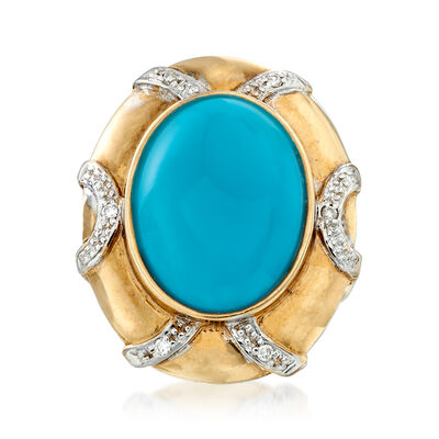 C. 1970 Vintage Stabilized Turquoise Ring with Diamond Accents in 14kt Yellow Gold, , default