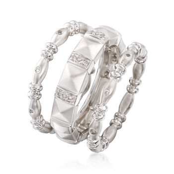 .10 ct. t.w. Diamond Jewelry Set: Three Stackable Rings in Sterling Silver, , default