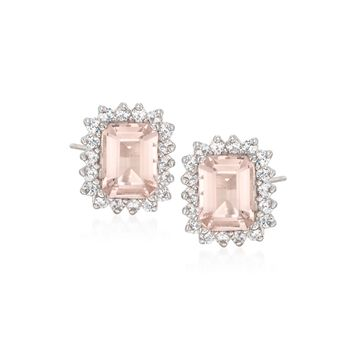 2.80 ct. t.w. Morganite and .72 ct. t.w. Diamond Stud Earrings in 14kt White Gold, , default